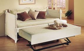 furniture white leather daybed with trundle and cushion plus