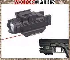 glock 19 laser light combo vector optics tactical pistol 200 lumens flashlight with red laser