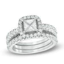 gold bridal sets 2 1 5 ct t w princess cut diamond frame bridal set in 14k white