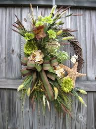 masculine seaside coastal wreath in green and brown s