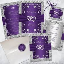 purple and silver wedding invitations purple silver joined hearts wedding invitation set niteowlstudio
