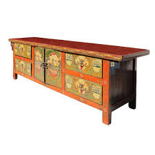 orange foo dogs orange tibetan skull foo dogs console table cabinet chairish