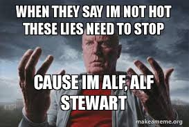 Alf Meme - when they say im not hot these lies need to stop cause im alf alf