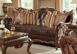 Leather And Wood Sofa Inspirations Leather And Fabric Sofa With Fabric Wood Trim Tufted