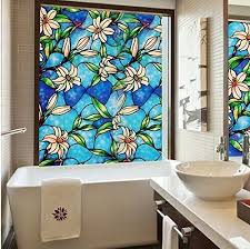 Decorative Window Film Stained Glass Fancy Fix Blue Orchid Privacy Vinyl Stained Glass Decorative