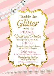 giltter and pearls pink and gold baby shower invite