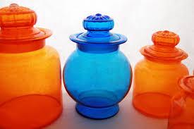 vintage glass canisters kitchen vintage retro orange glass kitchen or bar canister set retro
