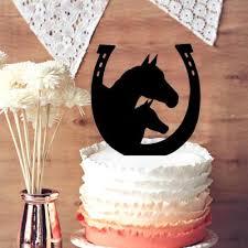 unique horse and horseshoe wedding cake topper unique silhouette