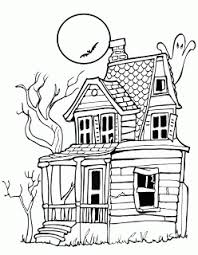 halloween colorings spooky mansion haunted house coloring page
