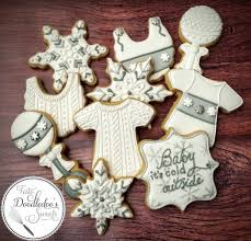 Onesie Baby Shower Favors Winter Baby Shower Cookies Baby Its Cold Outside Sweater Cookies