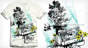 vector music t shirt design with cassette tree and flowers