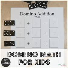 domino math for kids with free printable sugar spice and glitter