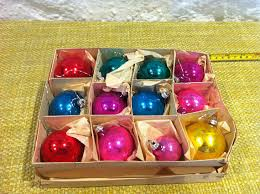 box of 12 vintage german made multi coloured glass christmas