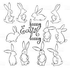 funny easter bunnies vector illustration outline drawing stock