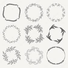vector black hand sketched floral frames borders u2014 stock vector
