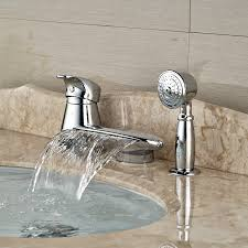 compare prices on tub spout diverter online shopping buy low wholesale and retail promotion round waterfall spout bathroom tub faucet w pull out hand sprayer