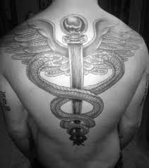 nice back simple caduceus tattoo golfian com