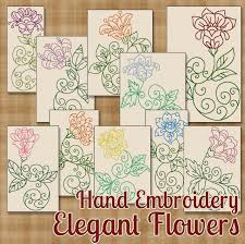 hand embroidery patterns elegant flowers in 4 sizes pdf instant