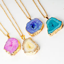 agate jewelry necklace images Druzy agate geode slice gold plated necklace by grace valour jpg