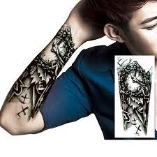 tattoo 3d mechanical manzilin 5pcs set black clock designs large mechanical arm tattoo 3d