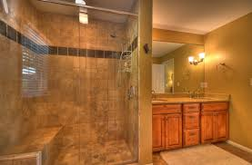 bathroom tile wall design ideas with glass shower door plus walk
