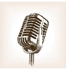 hand drawn microphone royalty free vector image