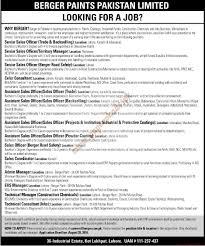 berger paints pakistan limited jobs jang jobs ads 21 august 2016