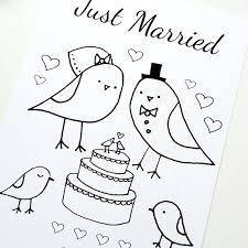 wedding coloring married love birds theme pdf