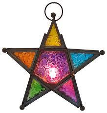star shaped tea lights zeckos stained glass 3d star hanging tea light lantern 7 1 2 inside