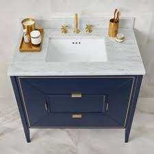 amora vanity by ronbow navy w gold inlay tamalpais faucet