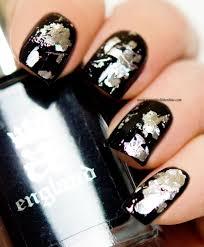 silver nail foils on black my nail polish online