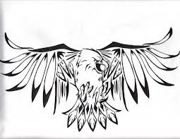 tribal hawk open wings tattoo design clip art library