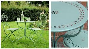 Metal Garden Chair Pale Green Metal Garden Table And Chairs Bistro Set Homegenies