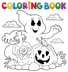 coloring book ghost subject stock vector image 98353247