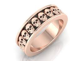 skull wedding bands his and hers skull wedding band set 2 rings 14 kt gold
