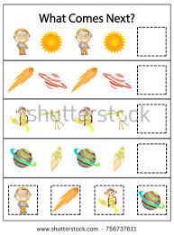 mathematics kindergarten worksheet kids printable game stock