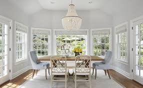 Light Blue Dining Room Chairs Blue And Grey Dining Room With Damask Shades Transitional