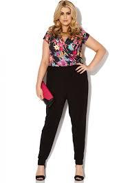 plus size jumpsuit plus size tropical floral peg leg jumpsuit