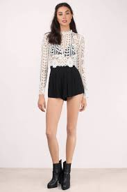 Leather And Lace Clothing Trendy White Crop Top White Top Long Sleeve Top White Crop