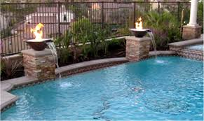Fire Pit With Water Feature - exterior swiming poll with concrete fire pit and water fountain