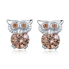 owl stud earrings mblife 925 sterling silver chagne cz baby owl stud