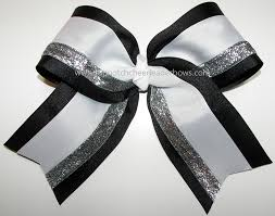 silver boxes with bows on top big cheer bow black white silver bow football