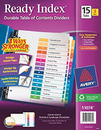 avery 15 tab table of contents color template amazon com avery ready index table of contents dividers 15 tab