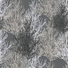 black and silver trees wallpaper with glitter on shimmer dark grey
