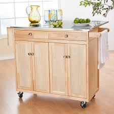 furniture wooden movable kitchen island with butcher block and