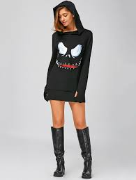 halloween hoodie black m long sleeve mini halloween hoodie dress rosegal com