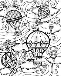 instant download coloring air balloons vintage