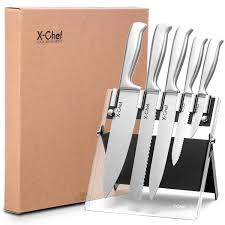 knife set with acrylic stand stainless steel chef culinary knife set