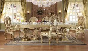 Royal Dining Room Italian Royal Style Solid Wood Goldleaf Expandable Dining Table