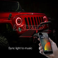 jeep lights on top xkchrome jeep headlight rgb halo ring jeep off road 7